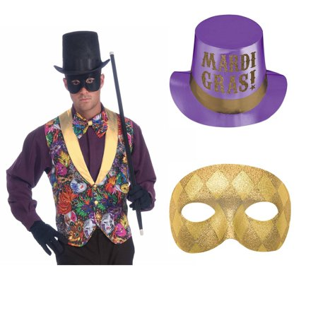 Mardi Gras Vest, Mask and Hat Bundle - Elaborate Mardi Gras Masks