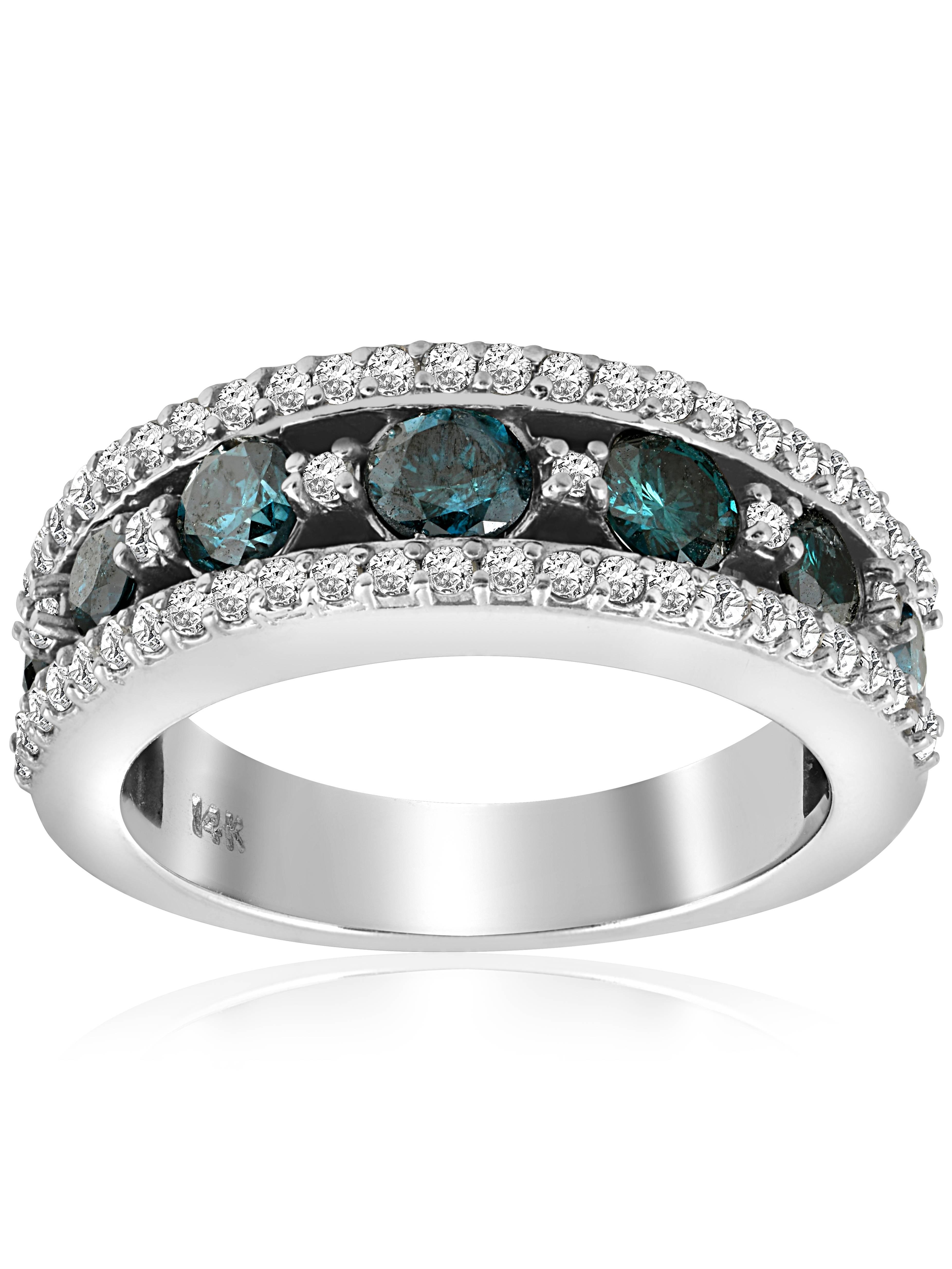 1 3 4ct Treated Blue Diamond & White Wide Wedding Ring 14K White Gold by Pompeii3