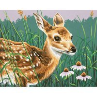 """Paint Works Paint By Number Kit 14""""X11""""-Fawn & Flowers"""