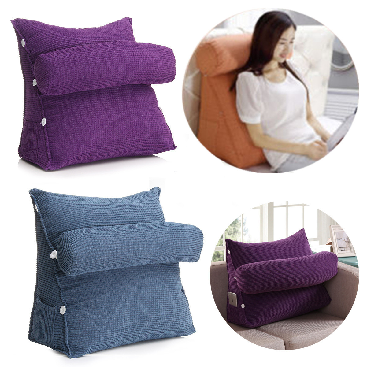 Adjustable Back Wedge Micro Cushion Pillow Sofa Bed Office Chair Rest Waist Neck Support