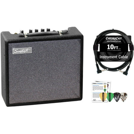 - Sawtooth 10-Watt Electric Guitar Amplifier with ChromaCast Pro Series Instrument Cable and Pick Sampler