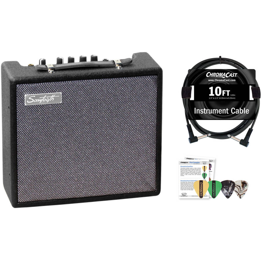 Sawtooth 10-Watt Electric Guitar Amplifier with ChromaCast Pro Series Instrument Cable and Pick Sampler