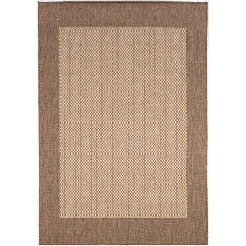 Grid Patchwork Indoor/Outdoor Rug, Natural-Cocoa, Multiple Sizes