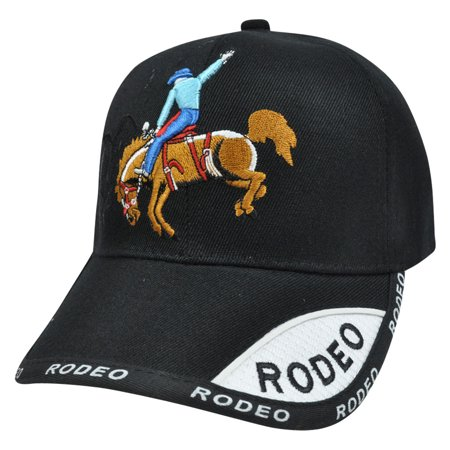 Ranch Rodeo Cowboy Country Horse Lasso Bucking Bronco  Constructed Hat Cap