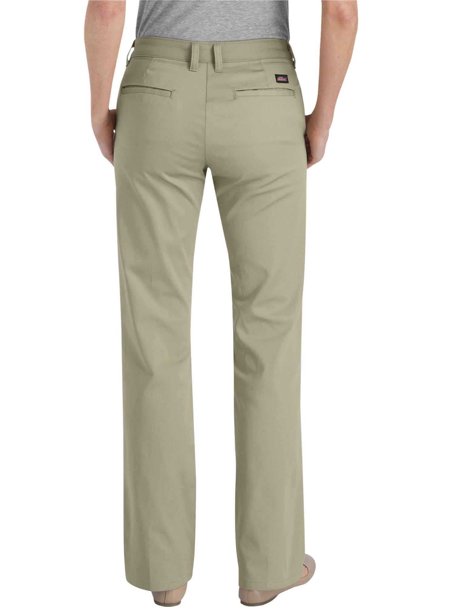 91104a1f455 Genuine Dickies - Women's Slim Fit Straight Leg Bootcut Stretch Twill Pants  - Walmart.com