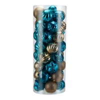Holiday Time Shatterproof Christmas Tree Ornaments, 50 Count, Dark Teal, Gold, and Light Teal