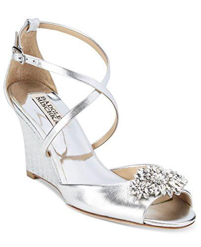 Badgley Mischka Cabina Women Open Toe Leather Silver Wedge Heel by Badgley Mischka