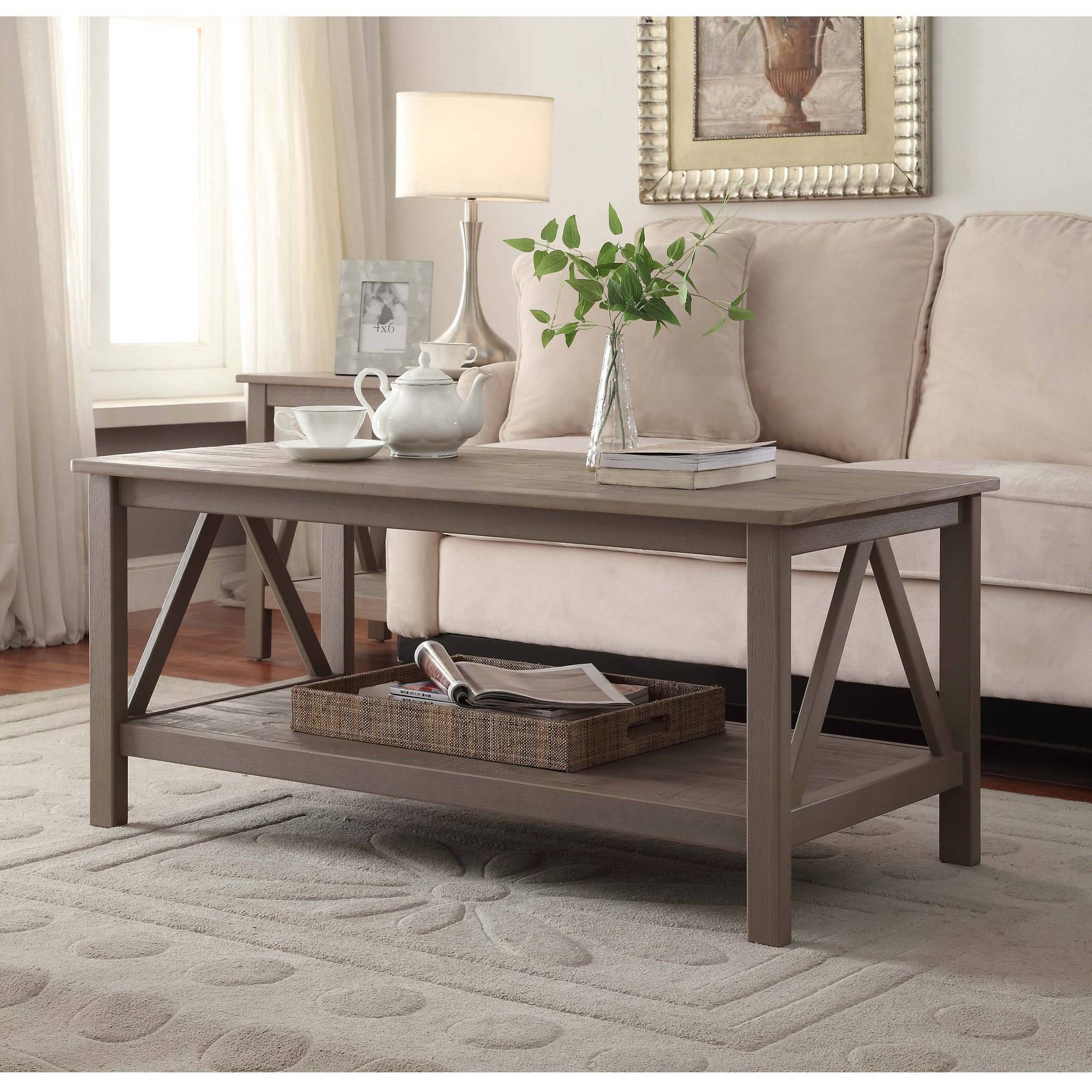. linon titian coffee table rustic gray  inches tall  walmartcom