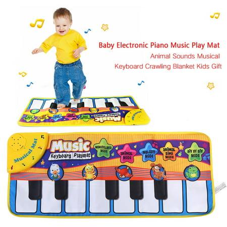 Yosoo Baby Electronic Piano Music Play Mat Animal Sounds Musical Keyboard Crawling Blanket Kids Gift,Music Play Mat, Baby Musical Keyboard