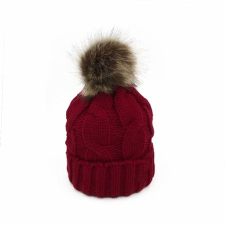 5119858f7e0 Noroomaknet Womens Winter Hats with Pom Pom Girls Knitted Hat Windproof  Warm Soft Cable Beanie Cap