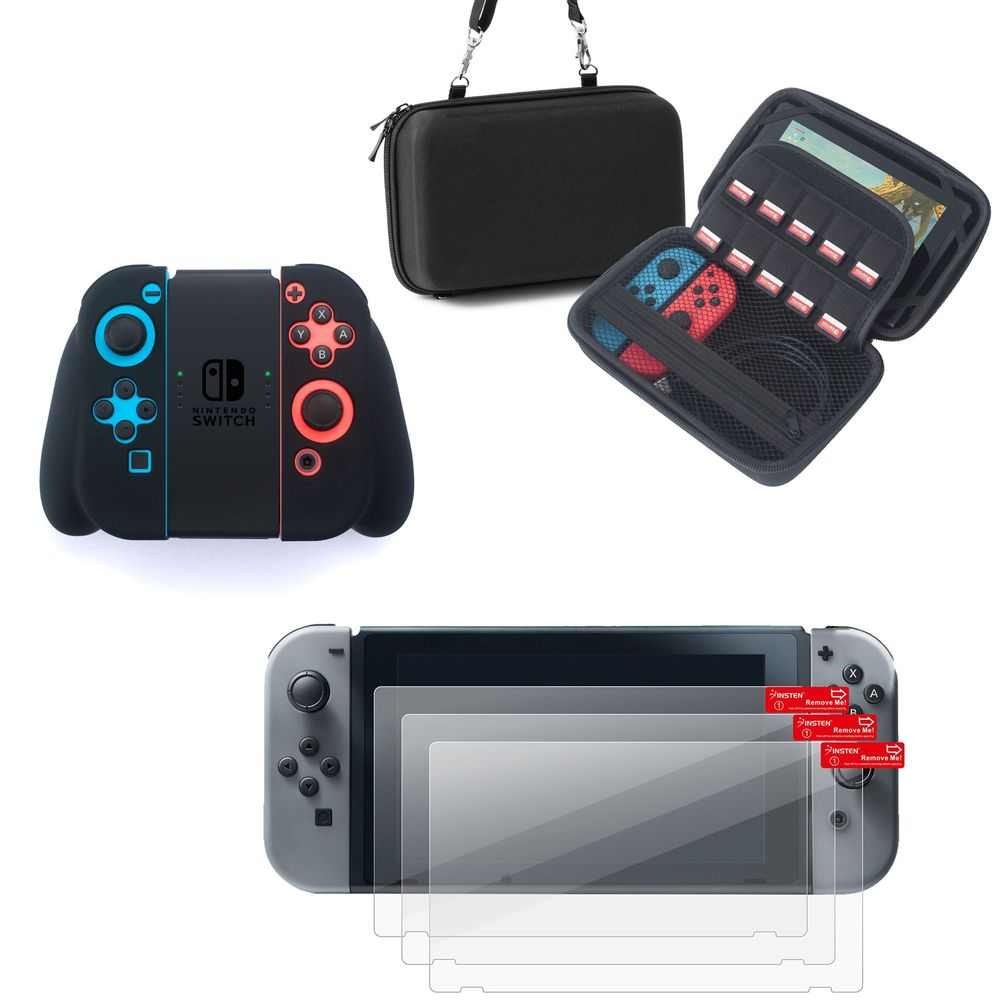 Nintendo Switch Case with Screen Protector 3in1 Bundle, by Insten Joy-Con Controller Dock Grip Skin + EVA Carrying Travel Hard Zipper Case with Hand Strap + 3-pack Clear LCD Film for Nintendo Switch