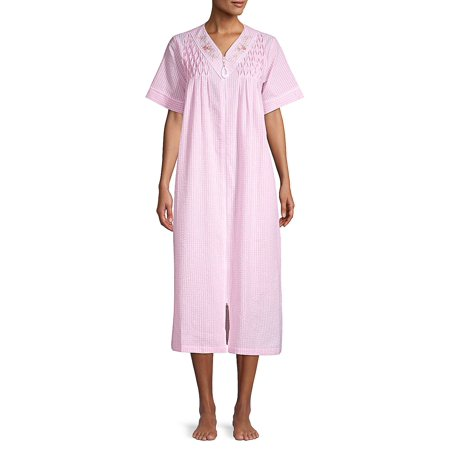 - Seersucker Long Zip Robe