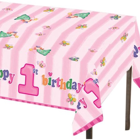 Plastic Table Cover, Fun at One Happy First Birthday Girl, 1st Birthday themed plastic table cover By Creative Converting Ship from US (Girls Birthday Themes)
