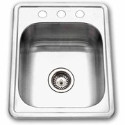 Houzer A1722-7BS-1 ADA Glowtone Series Topmount Single Bowl Stainless Steel Bar/Prep Sink, 3 Hole