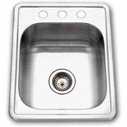 Houzer A1722-7BS-1 ADA Glowtone Series Topmount Single Bowl Stainless Steel Bar/Prep Sink, 3 Hole