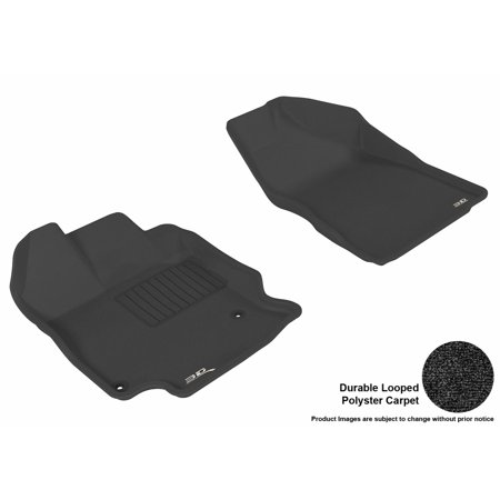 - 3D MAXpider 2009-2011 Toyota Venza Front Row All Weather Floor Liners in Black Carpet