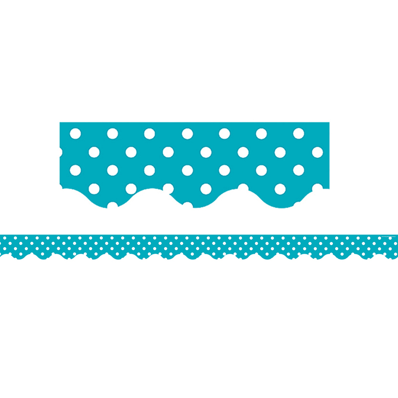 TEAL MINI POLKA DOTS SCALLOPED BORDER TRIM