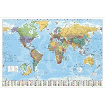 World Map Political Classroom Educational Giant Poster 55X39 Inch
