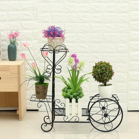 4 Tiers Vintage Metal Plant Stand Display Shelf Flower Planter Pot Holder Solid Indoor Outdoor Patio Home Garden Two Tier Flower Planter