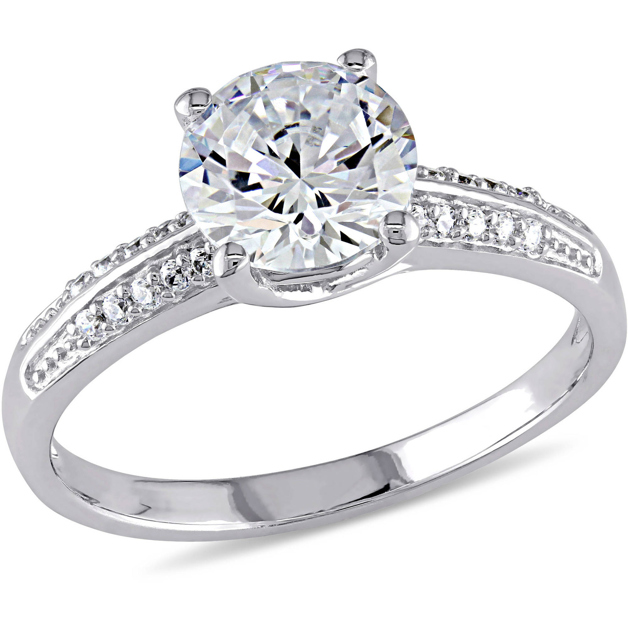 Miabella 3-4/5 Carat T.G.W. CZ Sterling Silver Engagement Ring