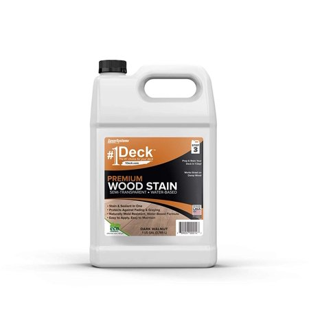 #1 Deck Premium Semi-Transparent Wood Stain for Decks, Fences, Siding - 1 Gallon (Dark (Walnut Stained)