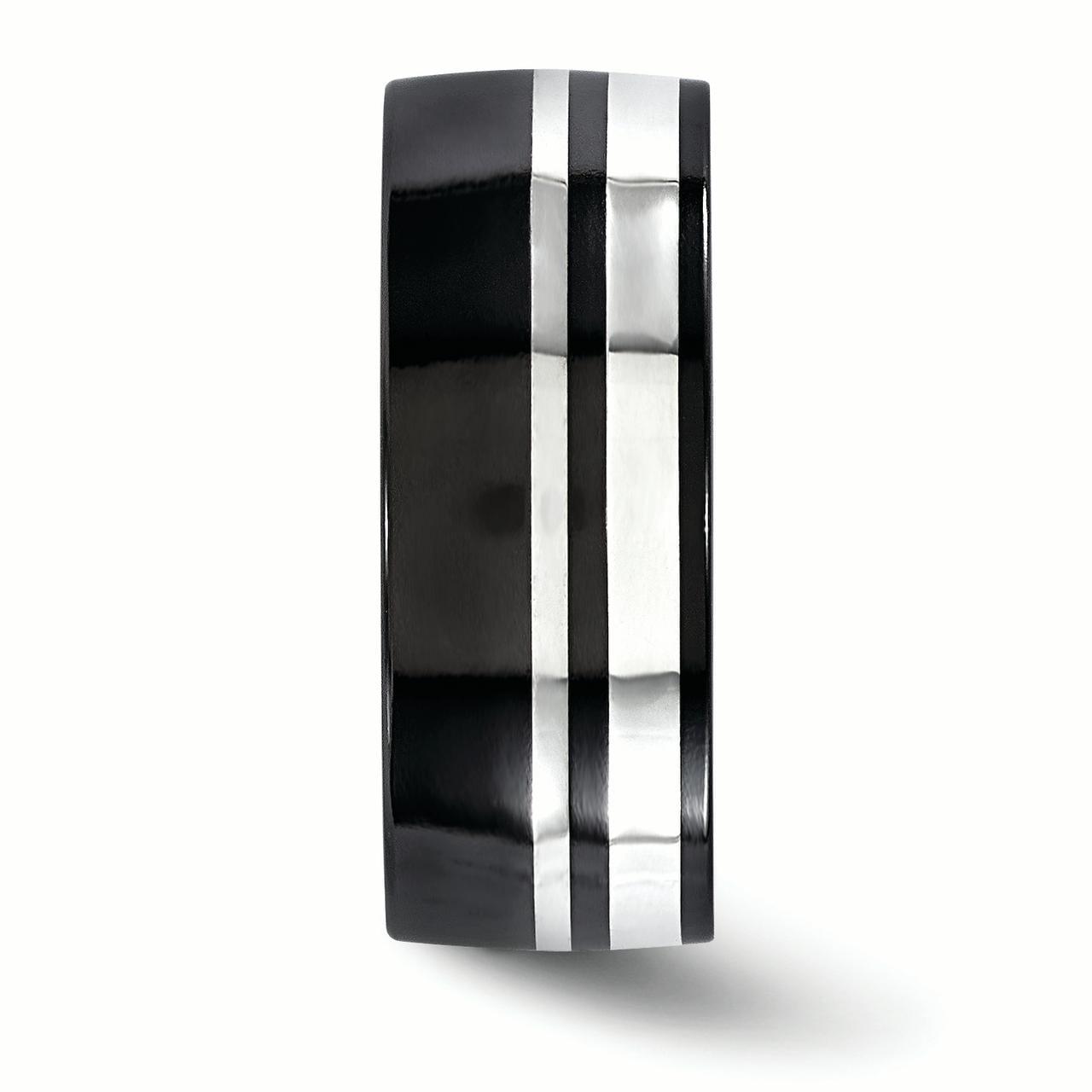 Edward Mirell Black Ti & Sterling Silver 9mm Polished Band Size 8 - image 2 of 3