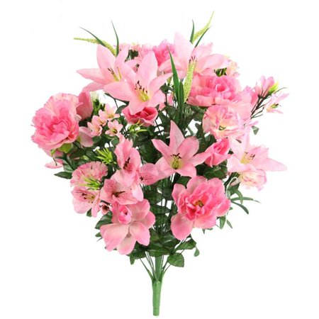 Admired by Nature ABN1B001-PNK 40 Stems Artificial Full Blooming Lily, Rose Bud, Carnation & Mum with Greenery Mixed Flower Bush - Pink - image 1 de 1