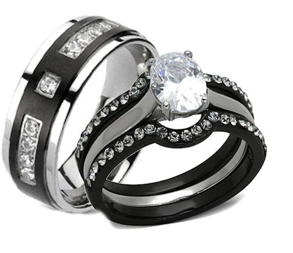 It is a photo of EEJ Collections - His Hers 33 Piece Black Stainless Steel & Titanium Matching Wedding Band Ring Set - Walmart.com