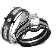 His Hers 4 Piece Black Stainless Steel Anium Matching Wedding Band Ring Set Image 1