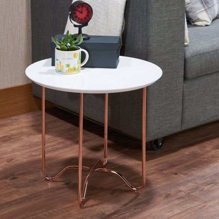 ACME Canty End Table, White & Rose Gold