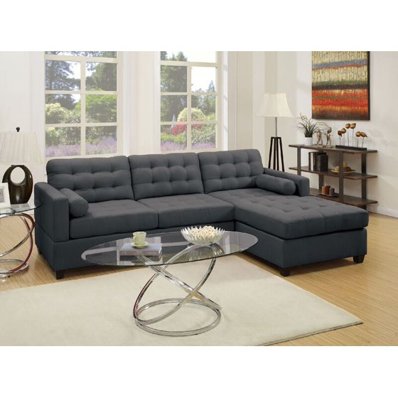 Simple Relax 2 PCS Living Room Sectional Sofa Chaise Tufting Seat Back  Upholstered Cushion