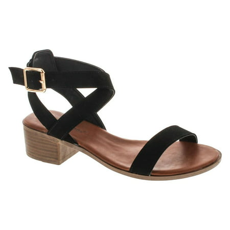 - Top Moda Women's Vision-75 Ankle Wrap Adjustable Buckle Stacked Chunky Heel Sandal
