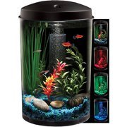 "Hawkeye 3 Gallon 360 View Aquarium Kit with LED Lighting and Natural Biological Filtration, 9.5"" L x 9.5"" W x 13.75"" H"