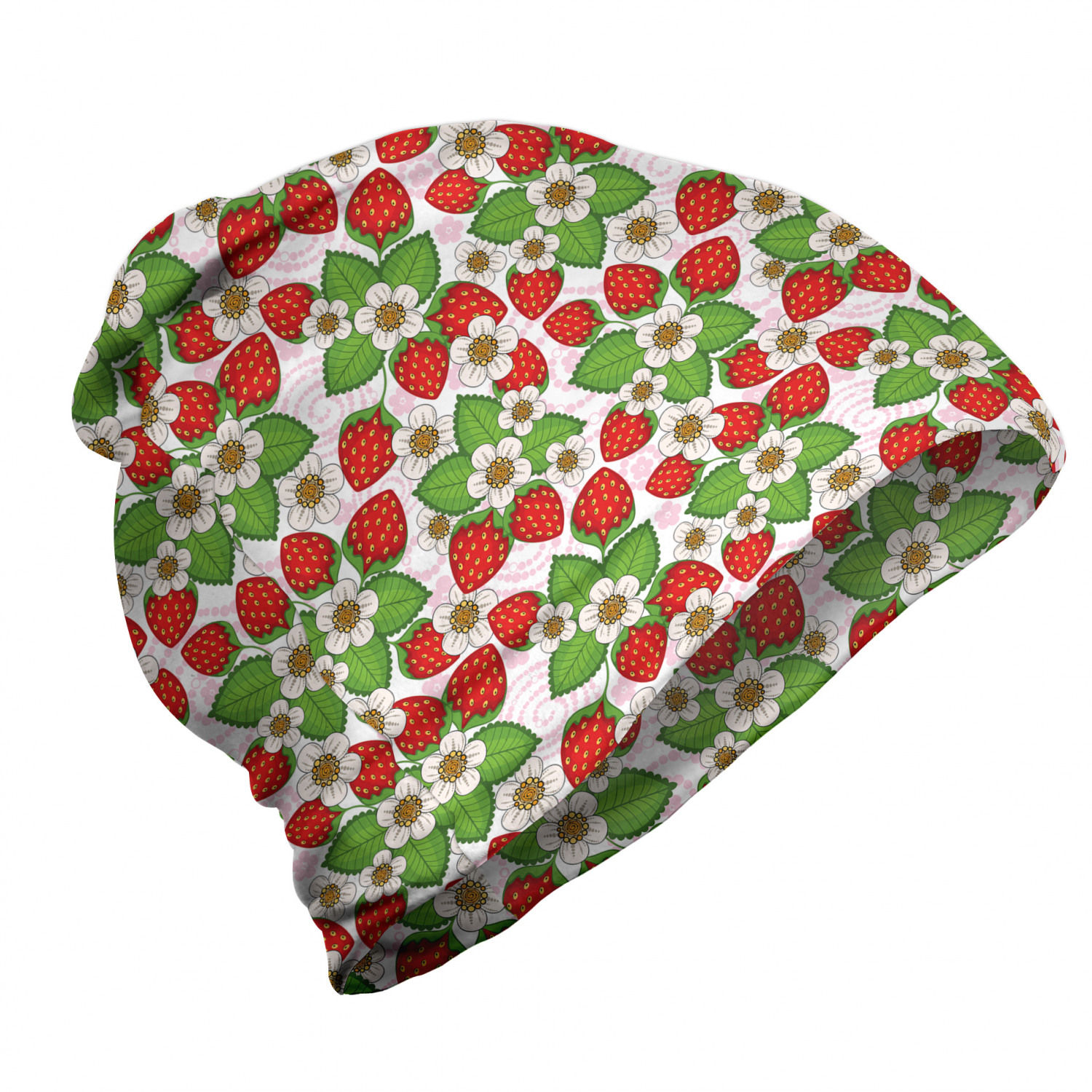 Summertime strawberries floral summer beanie and vermilion, green and light pink