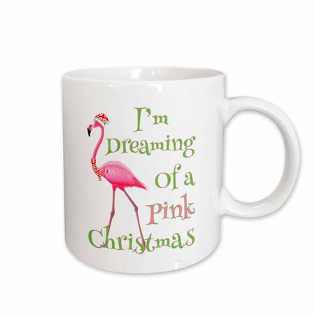 3dRose Im Dreaming of a Pink Christmas beach xmas with pink flamingo - Ceramic Mug, 11-ounce