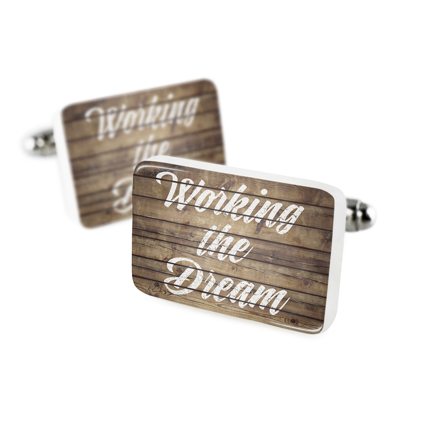 Cufflinks Painted Wood Working the Dream Porcelain Ceramic NEONBLOND