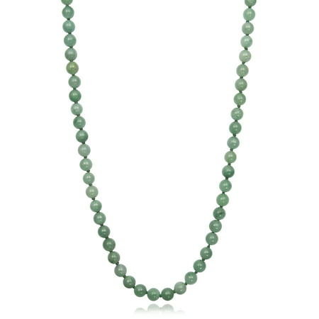 Natural Green Jade Sterling Silver Necklace
