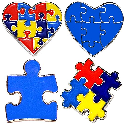 4 Piece Set Autism Awareness Heart Colorful Puzzle Pieces Lapel Hat Pins PPM7305