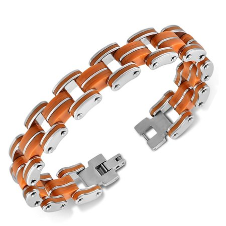 Stainless Steel Silver-Tone Multicolor Rubber Link Chain Mens Bracelet, 8