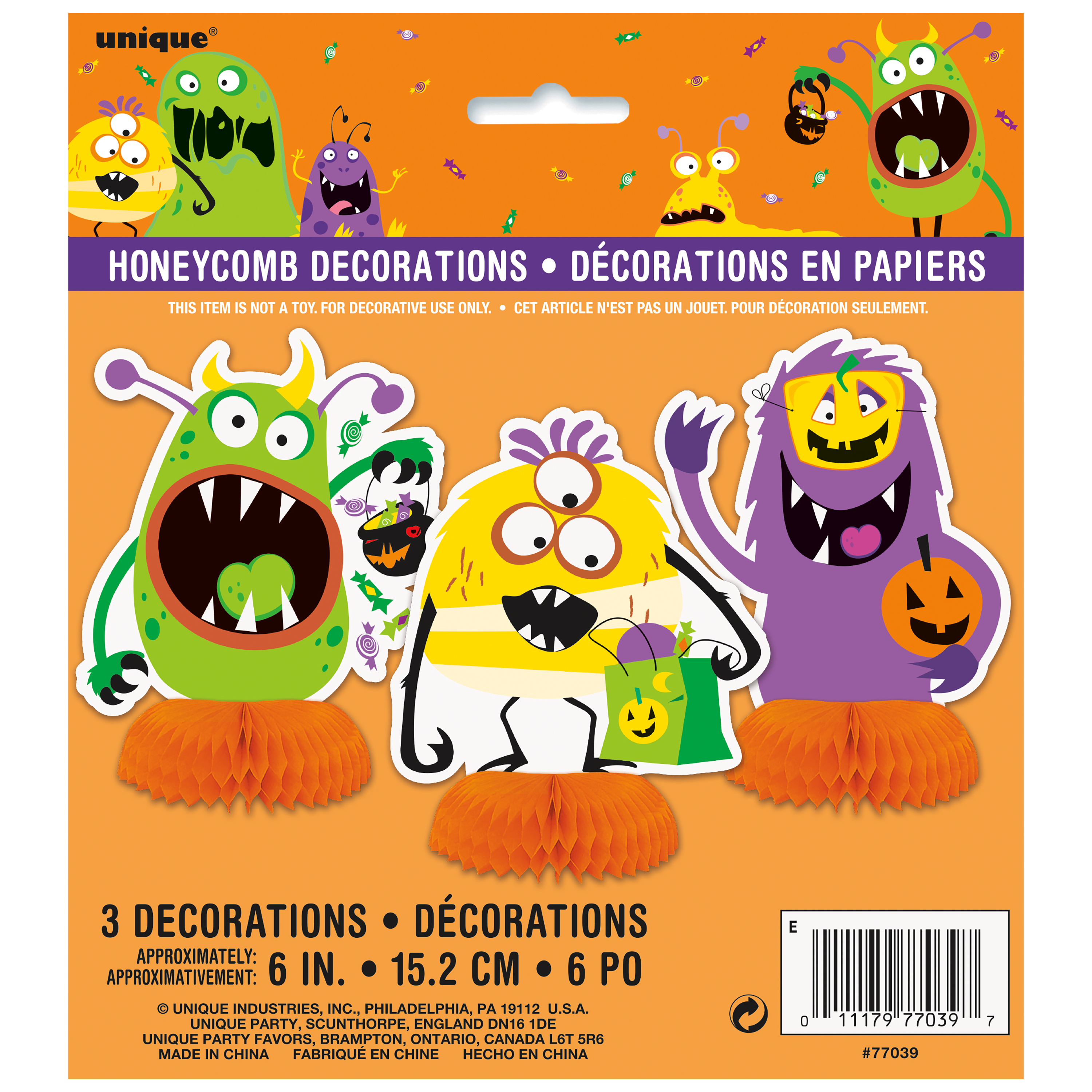 Silly Monsters Halloween Centerpiece Decorations, 6 in, 3ct