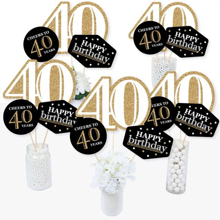 Adult 40th Birthday - Gold - Birthday Party Centerpiece Sticks - Table Toppers - Set of - Black And White Table Centerpiece Ideas