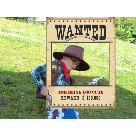 Wanted Reward Poster Selfie Party Frame, Criminal Bounty Photo Booth Frame Size 36x24 inches, Outlaw Western Cowboy Theme Decorations Frame - Western Party Decor