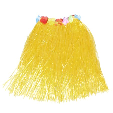 Women Flower Decor Elastic Waist Yellow Hawaiian Hula Grass Skirt + Floral Ring (Hawaii Grass Skirt)