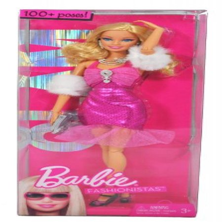 Barbie Year 2009 Fashionistas Series 12 Inch Doll - GLAM Barbie with Pink Neck Strap Party Dress, Faux Fur Arm Wrap, Necklace, Earrings, Purse and Pair of High Heel Shoes (R9878)