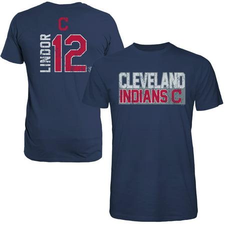 Francisco Lindor Cleveland Indians Majestic Threads Sidewinder Name & Number T-Shirt - Navy