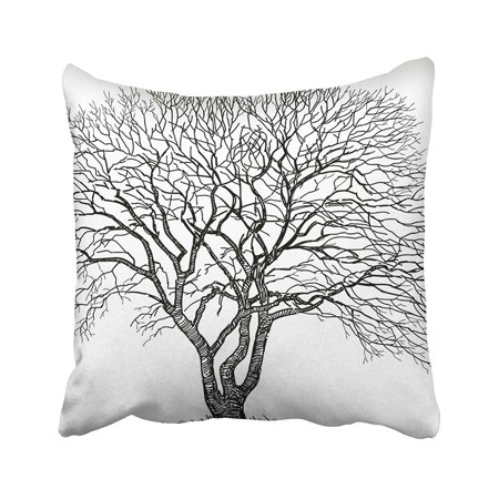 BSDHOME White Branch Silhouette Of The Old Tree Bole Branchy Drawn Hand Maple Oak Plant Pillowcase Pillow Cushion Cover 18x18 inches - image 1 de 1