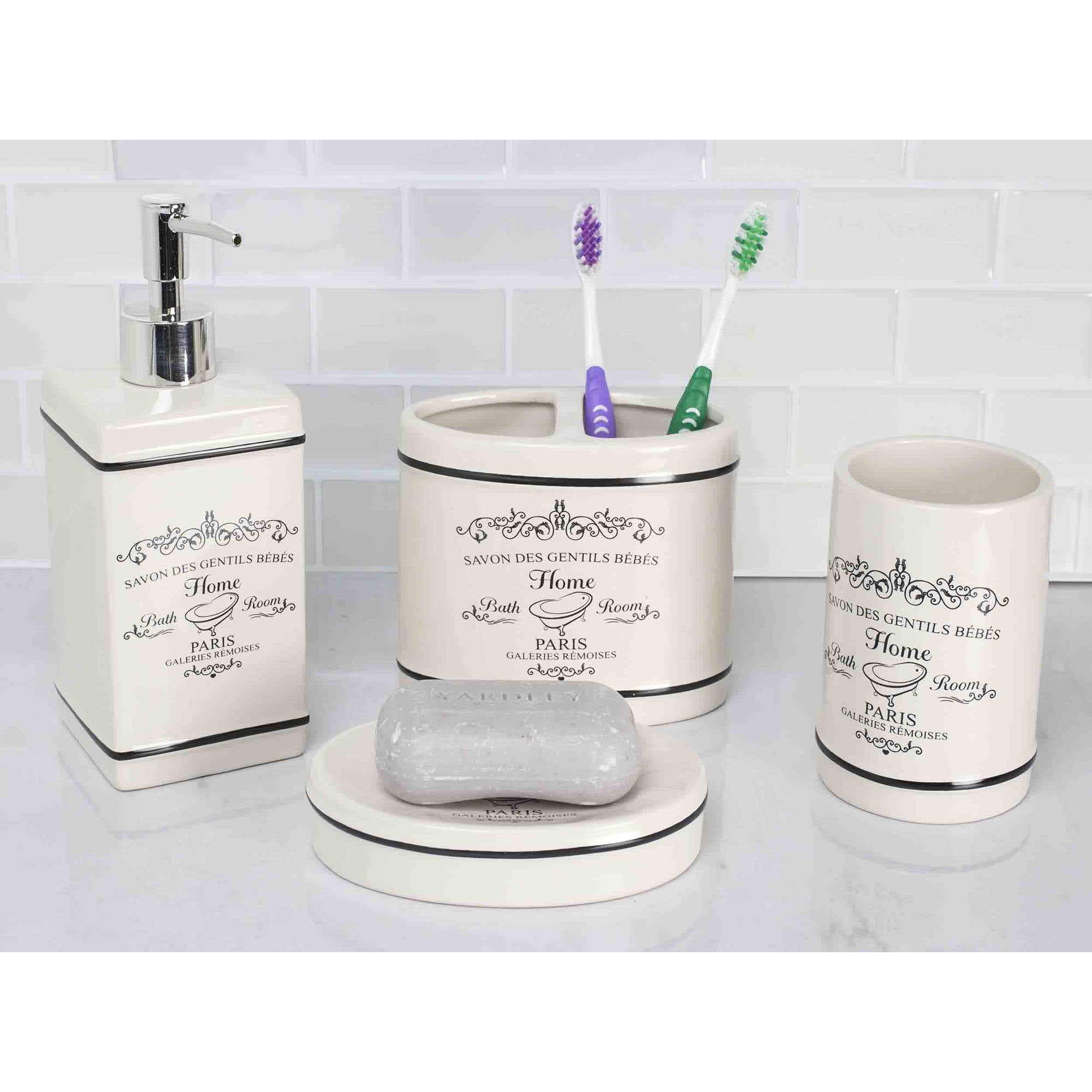 Home Basics 4-Piece Paris Bathroom Accessory Set