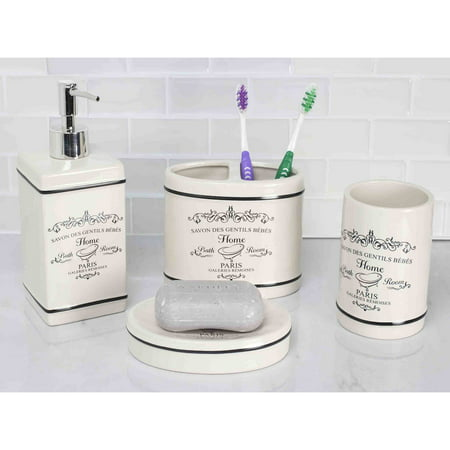 17cbb7b514bb Home Basics 4-Piece Paris Bathroom Accessory Set - Walmart.com