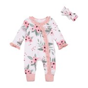 Musuos Lovely Baby´s Floral Bodysuit, Ruffle Edge Buttoned Collar Long Sleeve Long Pants Bowknot Hairband