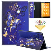 Dteck Flip Case For Amazon Kindle Fire HD 10 (5th/7th Generation, 2015/2017), PU Leather Case w/Butterfly Design, Built-in Card Slots/Money Pocket, Stand Protective Cover, Purple Butterfly